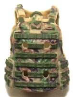 "Female Vest: Utility Type Tan/Green/Brown Camo Version - 1:18 Scale Modular MTF Valkyries Accessory for 3-3/4"" Action Figures"