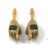 "Female Hands: Tan Gloves with Green Pads - Right AND Left (Pair) - 1:18 Scale MTF Valkyries Accessory for 3-3/4"" Action Figures"