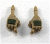 "Male Hands: Tan Gloves with Green Pad - Right AND Left (Pair) - 1:18 Scale MTF Accessory for 3-3/4"" Action Figures"