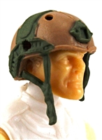 "Headgear: Half-Shell Helmet BROWN & GREEN Version - 1:18 Scale Modular MTF Accessory for 3-3/4"" Action Figures"