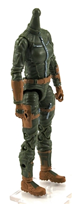 "MTF Female Valkyries Body WITHOUT Head GREEN with BROWN ""Range-Ops"" Version BASIC - 1:18 Scale Marauder Task Force Action Figure"