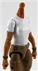 MTF Female Valkyries T-Shirt Torso ONLY (NO WAIST/LEGS): WHITE & GREEN Version with TAN Skin Tone - 1:18 Scale Marauder Task Force Accessory