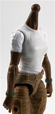 MTF Female Valkyries T-Shirt Torso ONLY (NO WAIST/LEGS): WHITE & GREEN Version with DARK Skin Tone - 1:18 Scale Marauder Task Force Accessory