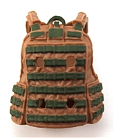 "Female Vest: Utility Type Brown & Green Version - 1:18 Scale Modular MTF Valkyries Accessory for 3-3/4"" Action Figures"