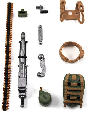 Steady-Cam Gun Gun-Metal DELUXE Set: BROWN & GREEN Version - 1:18 Scale Weapon Set for 3 3/4 Inch Action Figures