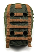 "Backpack: Modular Backpack GREEN with BROWN Version - 1:18 Scale Modular MTF Accessory for 3-3/4"" Action Figures"