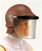 "Headgear: Swat RIOT Helmet with Visor ""Face Shield"" BROWN Version - 1:18 Scale Modular MTF Accessory for 3-3/4"" Action Figures"