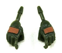 "Female Hands: GREEN Gloves with BROWN Pads - Right AND Left (Pair) - 1:18 Scale MTF Valkyries Accessory for 3-3/4"" Action Figures"