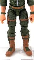 "Male Legs: Green and Brown Cloth Legs (NO Armor) -  Right AND Left Pair-NO WAIST-LEGS ONLY  - 1:18 Scale MTF Accessory for 3-3/4"" Action Figures"