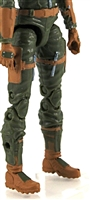 "Female Legs WITH Waist: GREEN with BROWN Legs  - Right AND Left Legs WITH Waist - 1:18 Scale MTF Valkyries Accessory for 3-3/4"" Action Figures"
