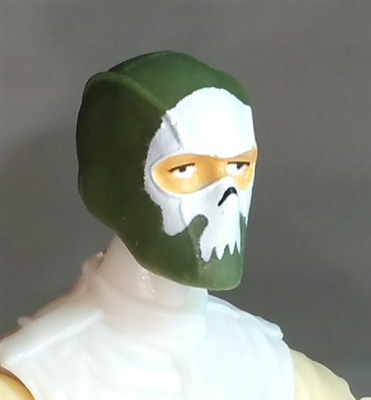 "Male Head: Balaclava GREEN Mask with White ""SKULL"" Deco - 1:18 Scale MTF Accessory for 3-3/4"" Action Figures"