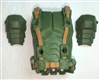 "Male Vest: Armor Type GREEN with Brown Version - 1:18 Scale Modular MTF Accessory for 3-3/4"" Action Figures"