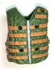 "Male Vest: Tactical Type GREEN & Brown Version - 1:18 Scale Modular MTF Accessory for 3-3/4"" Action Figures"