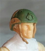 "Headgear: Half-Shell Helmet GREEN & Brown Version - 1:18 Scale Modular MTF Accessory for 3-3/4"" Action Figures"