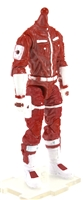 "MTF Male Trooper Body WITHOUT Head RED & WHITE ""Rescue-Ops"" Cloth Legs (No Leg Armor)  - 1:18 Scale Marauder Task Force Action Figure"