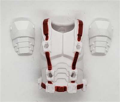 "Male Vest: Armor Type WHITE with RED Version - 1:18 Scale Modular MTF Accessory for 3-3/4"" Action Figures"