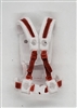 "Male Vest: Harness Rig WHITE with RED Version - 1:18 Scale Modular MTF Accessory for 3-3/4"" Action Figures"
