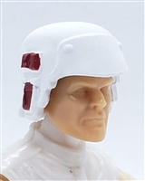 "Headgear: Armor Helmet WHITE with RED Version - 1:18 Scale Modular MTF Accessory for 3-3/4"" Action Figures"