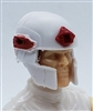 "Headgear: Tactical Helmet WHITE with RED Version - 1:18 Scale Modular MTF Accessory for 3-3/4"" Action Figures"