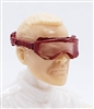 "Headgear: Standard Goggles with Strap ALL RED Version - 1:18 Scale Modular MTF Accessory for 3-3/4"" Action Figures"