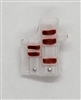 "Pistol Holster: Large Right Handed with Loop WHITE with RED Version - 1:18 Scale Modular MTF Accessory for 3-3/4"" Action Figures"