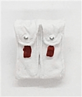 "Ammo Pouch: Double Magazine WHITE with RED Version - 1:18 Scale Modular MTF Accessory for 3-3/4"" Action Figures"
