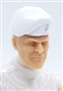 "Headgear: Beret WHITE with RED Trim Version - 1:18 Scale Modular MTF Accessory for 3-3/4"" Action Figures"