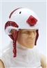 "Headgear: Half-Shell Helmet WHITE with RED Version - 1:18 Scale Modular MTF Accessory for 3-3/4"" Action Figures"