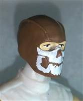 "Male Head: Balaclava BROWN Mask with White ""JAW"" Deco - 1:18 Scale MTF Accessory for 3-3/4"" Action Figures"