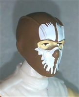 "Male Head: Balaclava BROWN Mask with White ""SPLIT SKULL"" Deco - 1:18 Scale MTF Accessory for 3-3/4"" Action Figures"
