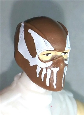 "Male Head: Balaclava BROWN Mask with White ""FANG"" Deco - 1:18 Scale MTF Accessory for 3-3/4"" Action Figures"