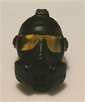 "Headgear: Gasmask BLACK with YELLOW Tint Lenses  - 1:18 Scale Modular MTF Accessory for 3-3/4"" Action Figures"