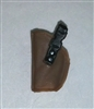 "Pistol Holster: Small Left Handed BROWN Version - 1:18 Scale Modular MTF Accessory for 3-3/4"" Action Figures"