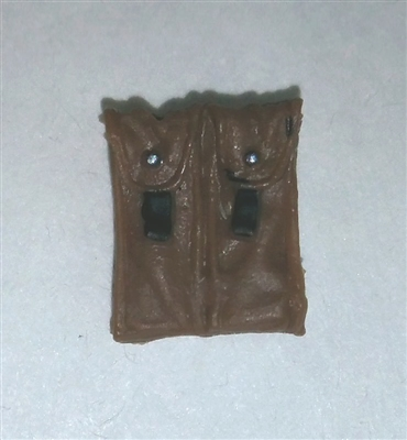 "Ammo Pouch: Double Magazine BROWN Version - 1:18 Scale Modular MTF Accessory for 3-3/4"" Action Figures"