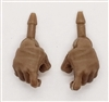"Male Hands: BROWN Full Gloves Right AND Left (Pair) - 1:18 Scale MTF Accessory for 3-3/4"" Action Figures"