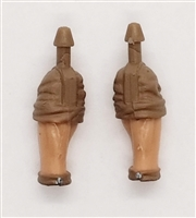 "Male Forearms: Bare with BROWN Rolled Up Sleeves Light Skin Tone - Right AND Left (Pair) - 1:18 Scale MTF Accessory for 3-3/4"" Action Figures"