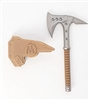 "Tactical Axe ""Tomahawk"" & Sheath: BROWN Version - 1:18 Scale Modular MTF Accessory for 3-3/4"" Action Figures"