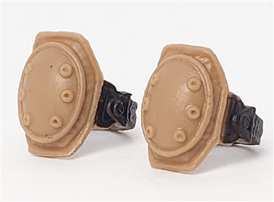 "Knee Pads with Strap BROWN & Black Version (PAIR) - 1:18 Scale Modular MTF Accessory for 3-3/4"" Action Figures"