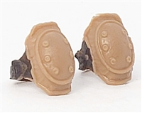 "Elbow Pads with Strap BROWN & Black Version (PAIR) - 1:18 Scale Modular MTF Accessory for 3-3/4"" Action Figures"