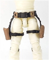 "Belt with Drop Down Leg Holster: BROWN & Black Version - 1:18 Scale Modular MTF Accessory for 3-3/4"" Action Figures"