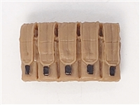 "Ammo Pouch: 5 Pocket Magazine Pouch BROWN & Black Version - 1:18 Scale Modular MTF Accessory for 3-3/4"" Action Figures"