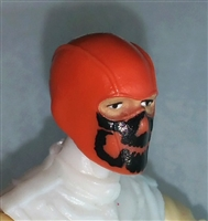 "Male Head: Balaclava ORANGE Mask with Black ""JAW"" Deco - 1:18 Scale MTF Accessory for 3-3/4"" Action Figures"