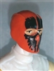 "Male Head: Balaclava ORANGE Mask with Black ""SPLIT SKULL"" Deco - 1:18 Scale MTF Accessory for 3-3/4"" Action Figures"