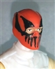 "Male Head: Balaclava ORANGE Mask with Black ""FANG"" Deco - 1:18 Scale MTF Accessory for 3-3/4"" Action Figures"