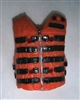 "Male Vest: Tactical Type ORANGE Version - 1:18 Scale Modular MTF Accessory for 3-3/4"" Action Figures"