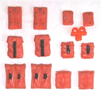"Pouch & Pocket Deluxe Modular Set: ORANGE Version - 1:18 Scale Modular MTF Accessories for 3-3/4"" Action Figures"
