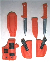 "Pistol Holster & Knife Sheath Deluxe Modular Set: ORANGE Version - 1:18 Scale Modular MTF Accessories for 3-3/4"" Action Figures"