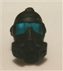 "Headgear: Gasmask BLACK with BLUE Tint Lenses  - 1:18 Scale Modular MTF Accessory for 3-3/4"" Action Figures"