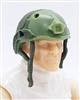 "Headgear: Half-Shell Helmet LIGHT GREEN & GREEN Version - 1:18 Scale Modular MTF Accessory for 3-3/4"" Action Figures"