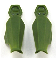 "Female Shin Armor: LIGHT GREEN Version - Left & Right (Pair) - 1:18 Scale Modular MTF Valkyries Accessory for 3-3/4"" Action Figures"